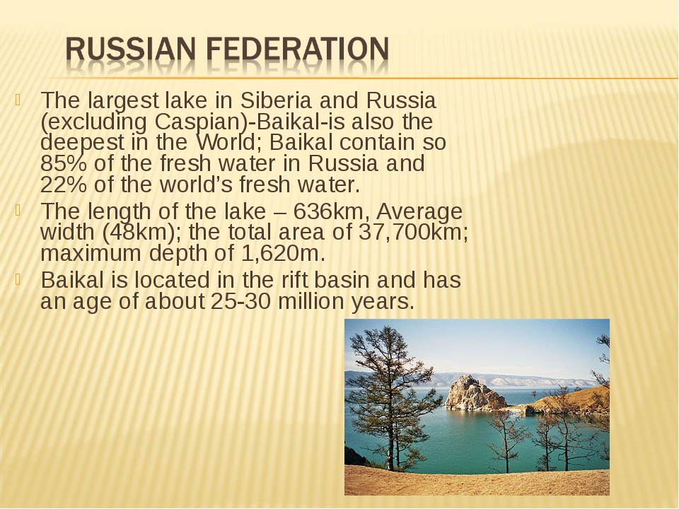 The largest lake in Siberia and Russia (excluding Caspian)-Baikal-is also the...