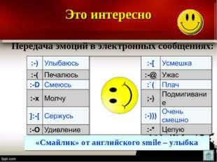 Передача эмоций в электронных сообщениях: «Смайлик» от английского smile – у