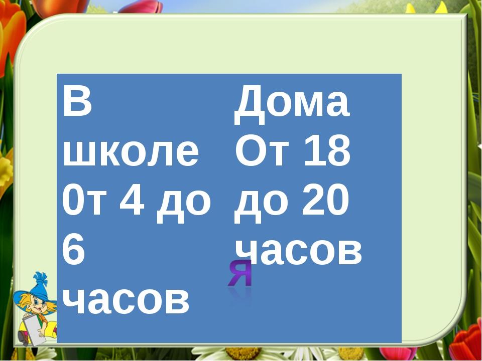 В школе 0т 4 до 6 часовДома От 18 до 20 часов