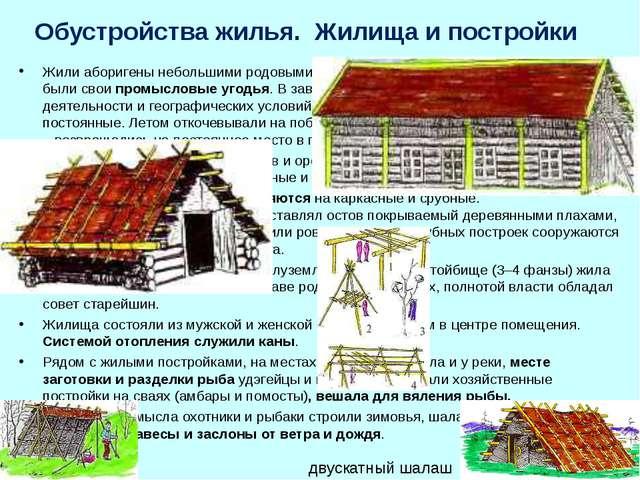 Обустройства жилья. Жилища и постройки Жили аборигены небольшими родовыми...
