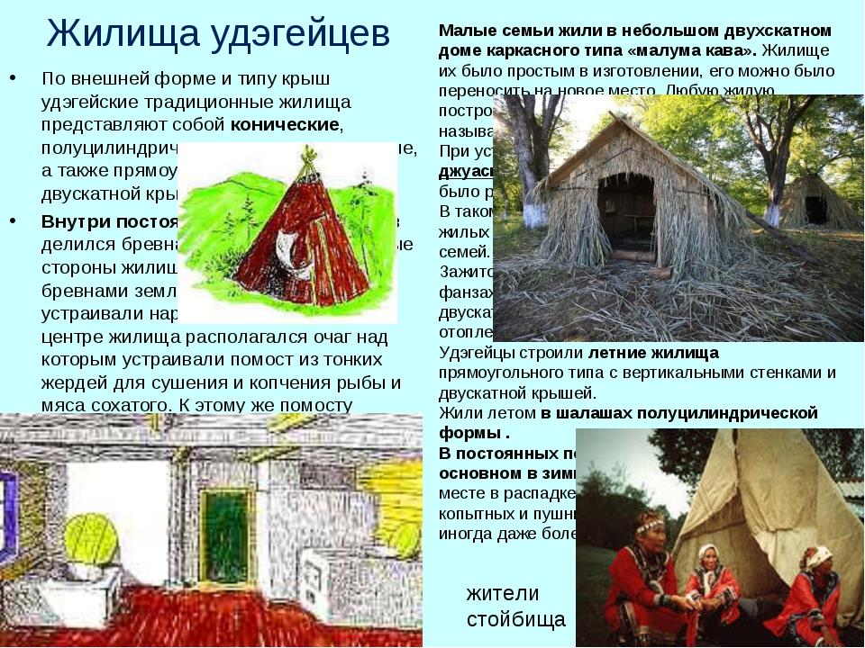 Жилища удэгейцев По внешней форме и типу крыш удэгейские традиционные жилища...