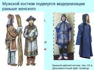 Мужской костюм подвергся модернизации раньше женского и его основные части вы