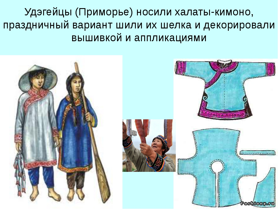 Удэгейцы (Приморье) носили халаты-кимоно, праздничный вариант шили их шелка и...