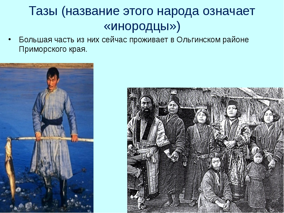 Тазы (название этого народа означает «инородцы») Большая часть из них сейчас...