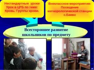 Всестороннее развитие школьников по предмету Нестандартные уроки Урок в ЦРБ п