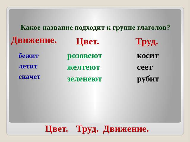 Какое название подходит к группе глаголов? бежит летит скачет розовеют желтею...