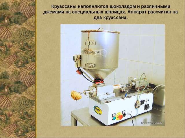 Круассаны наполняются шоколадом и различными джемами на специальных шприцах....