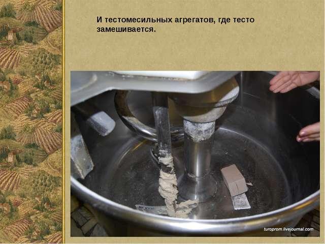 И тестомесильных агрегатов, где тесто замешивается.