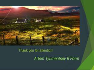 Thank you for attention! Artem Tyumentsev 6 Form