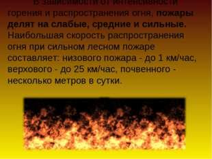 В зависимости от интенсивности горения и распространения огня, пожары делят