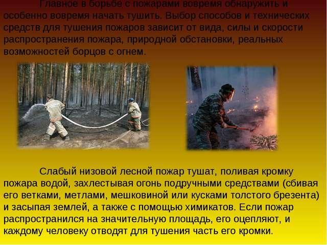 Главное в борьбе с пожарами вовремя обнаружить и особенно вовремя начать туш...