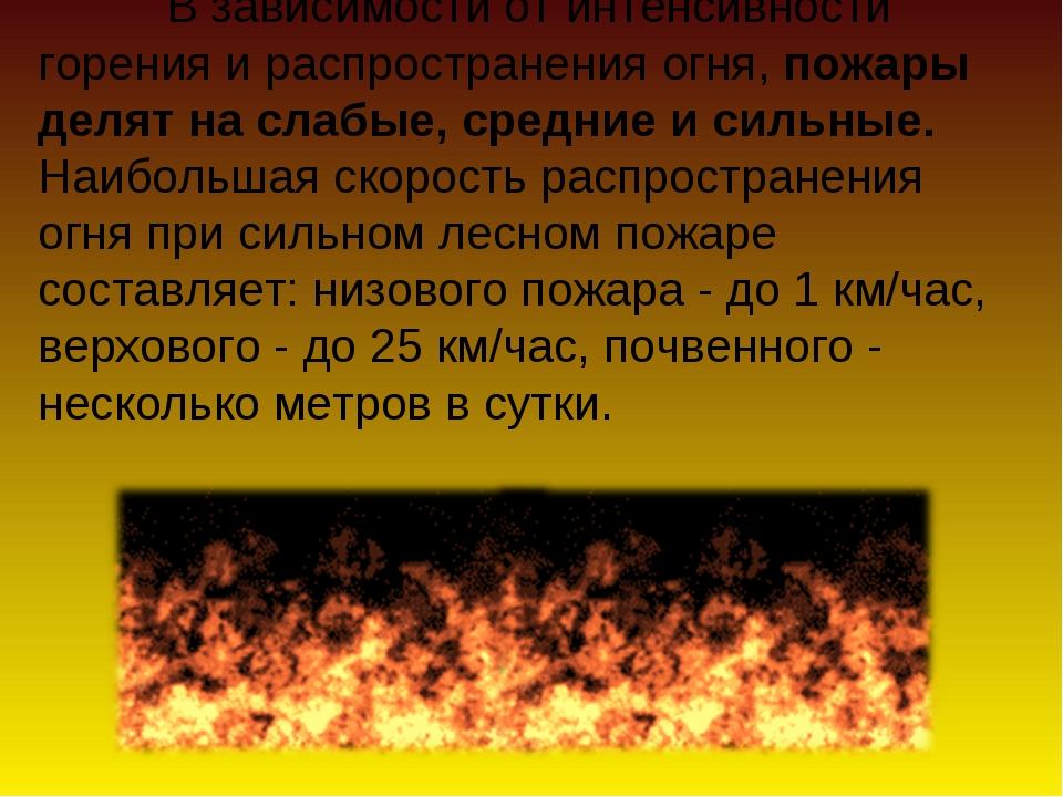 В зависимости от интенсивности горения и распространения огня, пожары делят...
