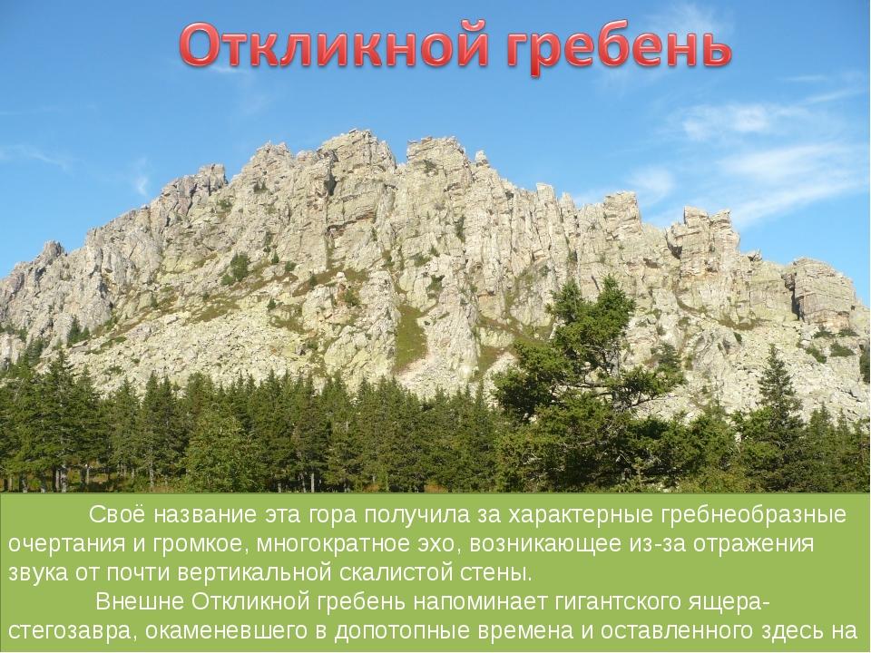 Своё название эта гора получила за характерные гребнеобразные очертания и гр...