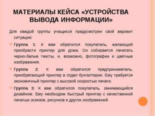 МАТЕРИАЛЫ КЕЙСА «УСТРОЙСТВА ВЫВОДА ИНФОРМАЦИИ» Для каждой группы учащихся пре