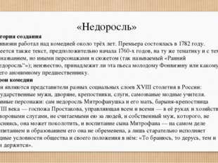 «Недоросль» История создания Фонвизин работал над комедией около трёх лет. Пр