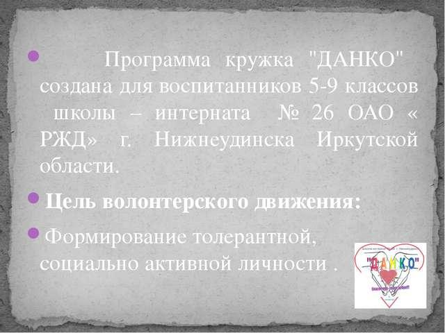 """Программа кружка """"ДАНКО"""" создана для воспитанников 5-9 классов школы – интер..."""