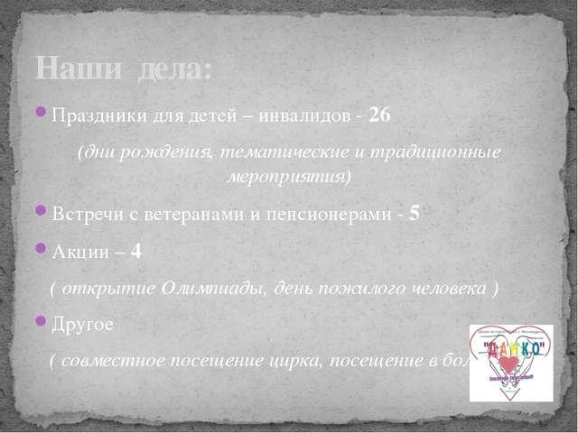 Праздники для детей – инвалидов - 26 (дни рождения, тематические и традиционн...