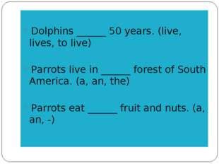 Dolphins ______ 50 years. (live, lives, to live) Parrots live in ______ fore