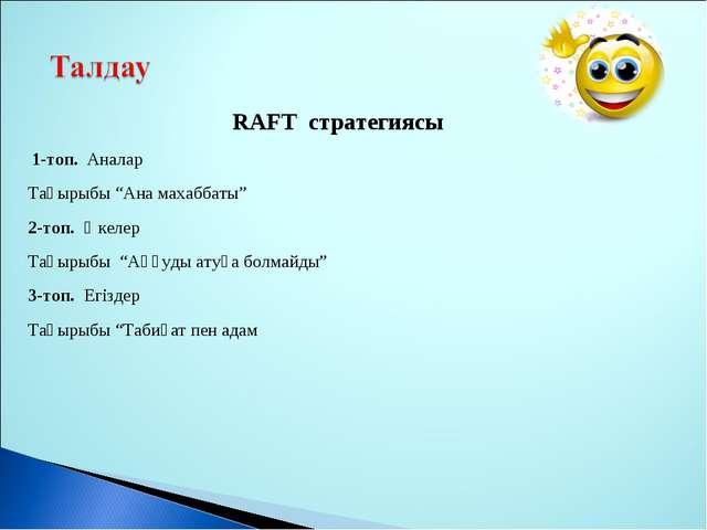 "RAFT стратегиясы 1-топ. Аналар Тақырыбы ""Ана махаббаты"" 2-топ. Әкелер Тақырыб..."