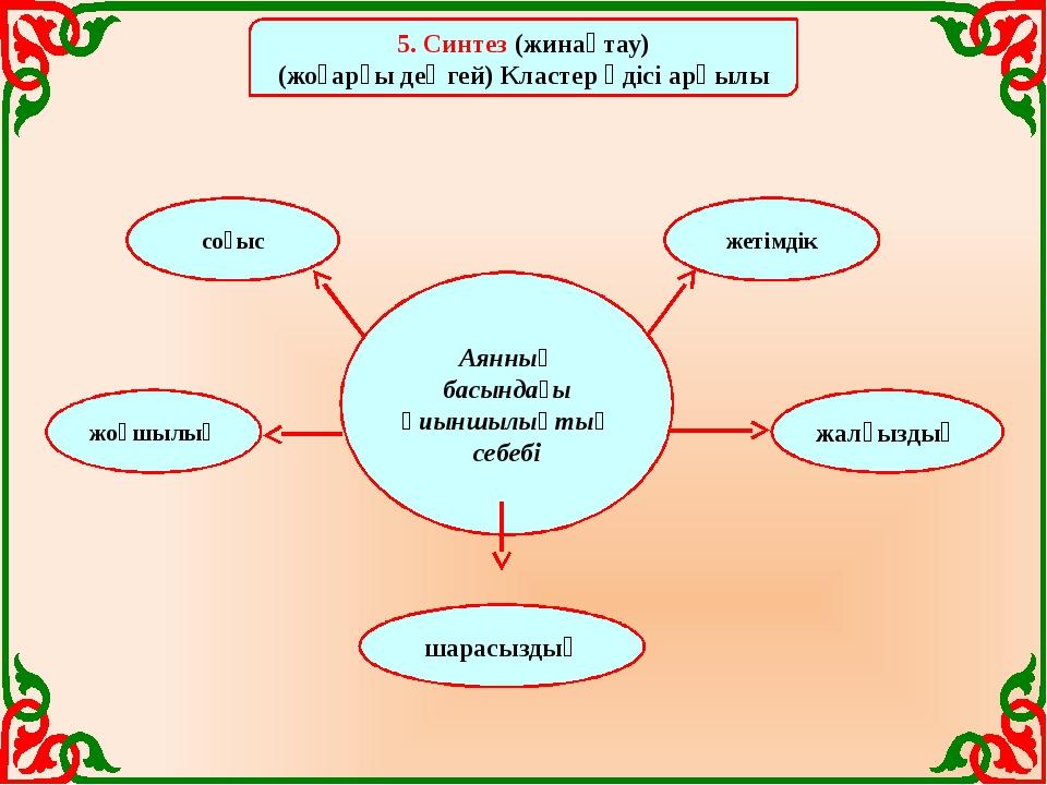 5. Синтез (жинақтау) (жоғарғы деңгей) Кластер әдісі арқылы Аянның басындағы...