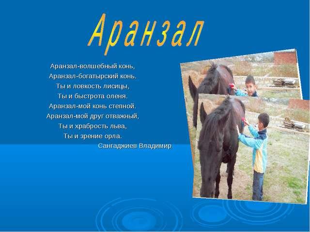 Аранзал-волшебный конь, Аранзал-богатырский конь. Ты и ловкость лисицы, Ты и...
