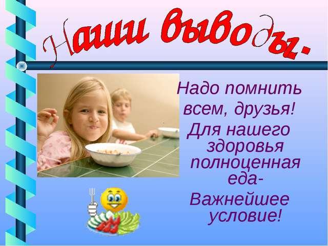 Надо помнить всем, друзья! Для нашего здоровья полноценная еда- Важнейшее ус...