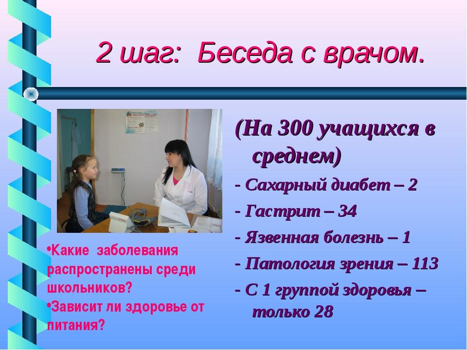 2 шаг: Беседа с врачом. (На 300 учащихся в среднем) - Сахарный диабет – 2 -...