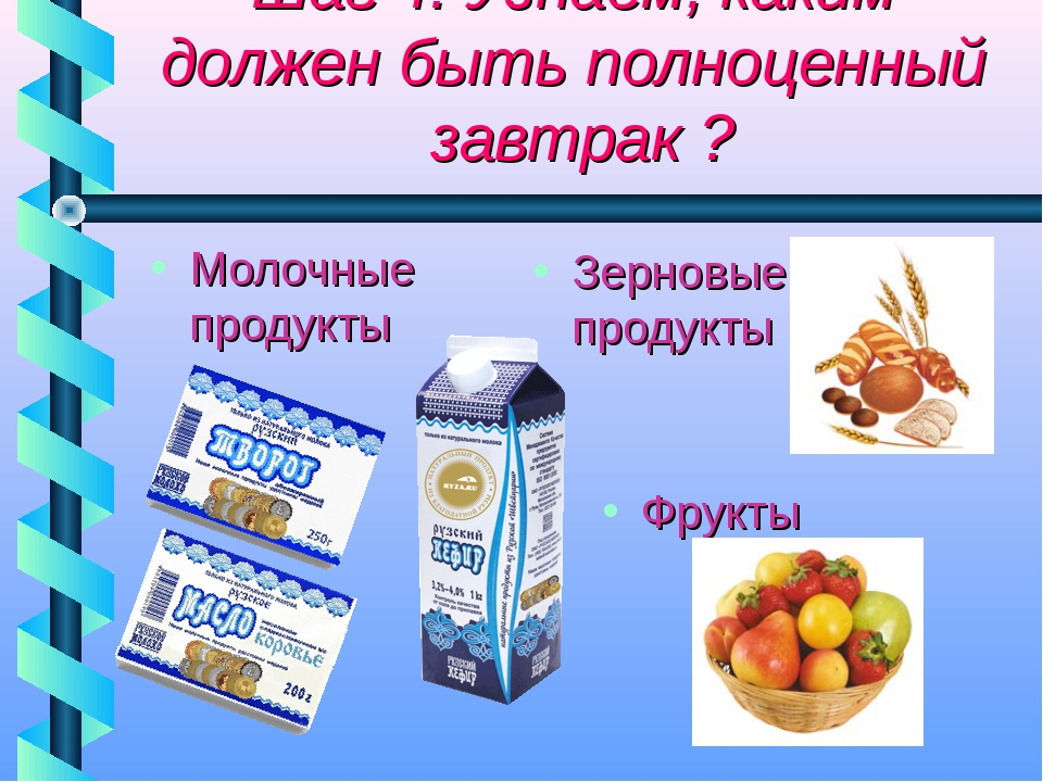 Шаг 4: Узнаём, каким должен быть полноценный завтрак ? Зерновые продукты Фру...