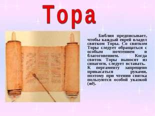 Библия предписывает, чтобы каждый еврей владел свитком Торы. Со свитком Торы