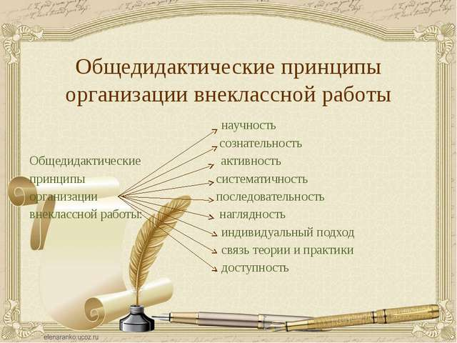 Общедидактические принципы организации внеклассной работы научность сознатель...