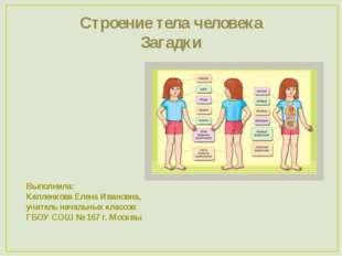 Строение тела человека Загадки Выполнила: Капленкова Елена Ивановна, учитель