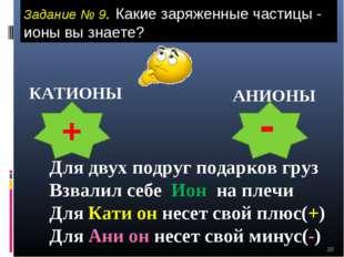 * Задание № 9. Какие заряженные частицы - ионы вы знаете? КАТИОНЫ АНИОНЫ + -