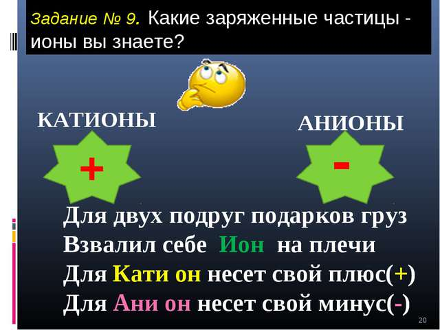 * Задание № 9. Какие заряженные частицы - ионы вы знаете? КАТИОНЫ АНИОНЫ + -...