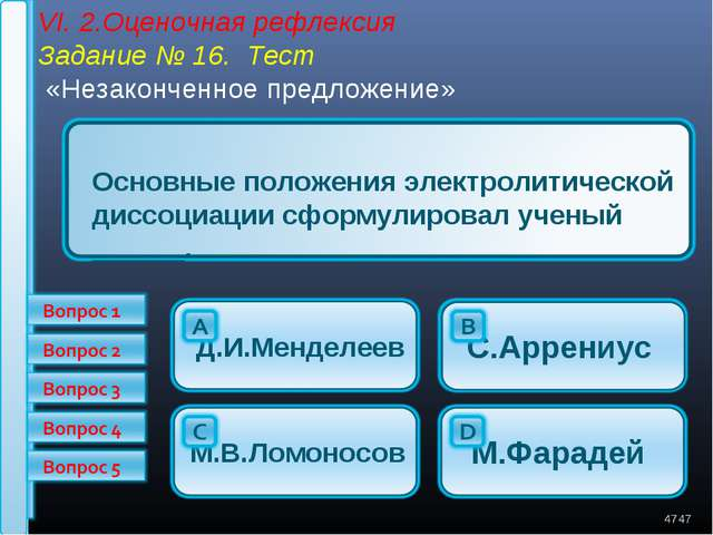 VI. 2.Оценочная рефлексия Задание № 16. Тест «Незаконченное предложение» * *...