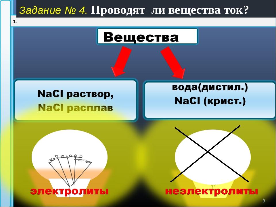 * Задание № 4. Проводят ли вещества ток?