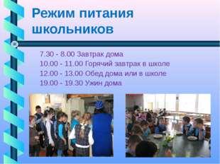 Режим питания школьников 7.30 - 8.00 Завтрак дома 10.00 - 11.00 Горячий завтр