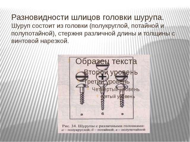 Разновидности шлицов головки шурупа. Шуруп состоит из головки (полукруглой, п...