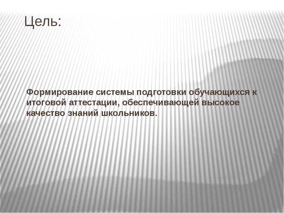 Цель: Формирование системы подготовки обучающихся к итоговой аттестации, обес...