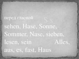 перед гласной sehen, Hase, Sonne, Sommer, Nase, sieben, lesen, sein Alles, au