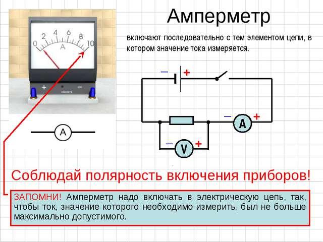 Амперметр включают последовательно с тем элементом цепи, в котором значение т...