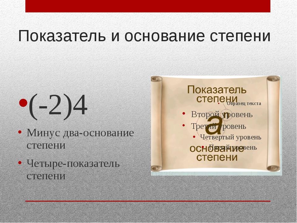 Показатель и основание степени (-2)4 Минус два-основание степени Четыре-показ...