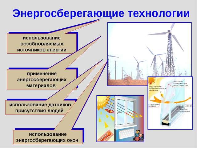 использование возобновляемых источников энергии Энергосберегающие технологии...