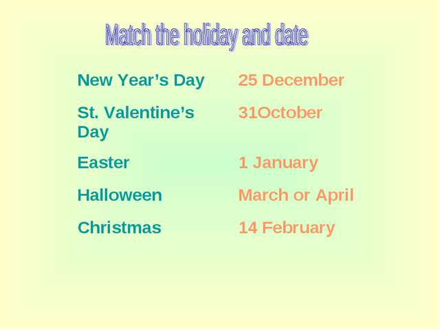New Year's Day	25 December St. Valentine's Day	31October Easter	1 January Hal...