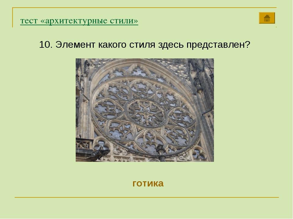 тест «архитектурные стили» 10. Элемент какого стиля здесь представлен? готика