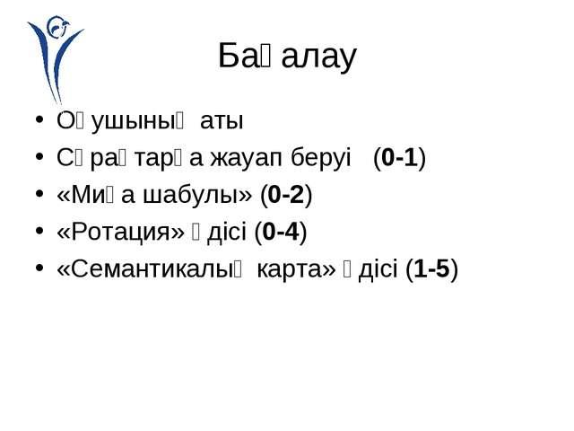 Бағалау Оқушының аты Сұрақтарға жауап беруі (0-1) «Миға шабулы» (0-2) «Ротаци...