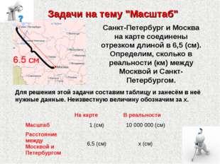 "Задачи на тему ""Масштаб"" Санкт-Петербург и Москва на карте соединены отрезком"