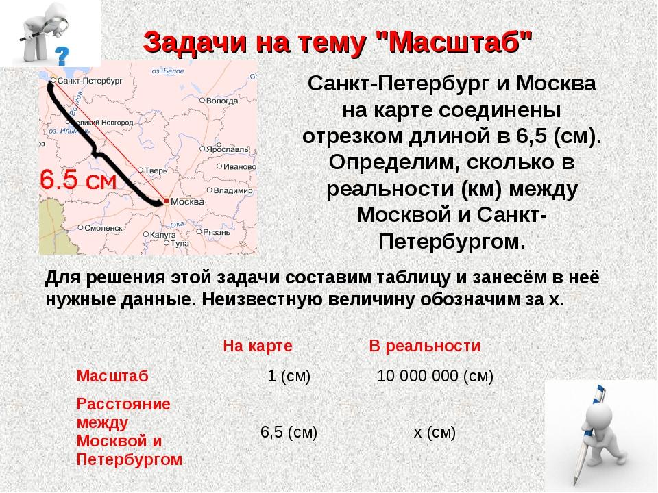 "Задачи на тему ""Масштаб"" Санкт-Петербург и Москва на карте соединены отрезком..."