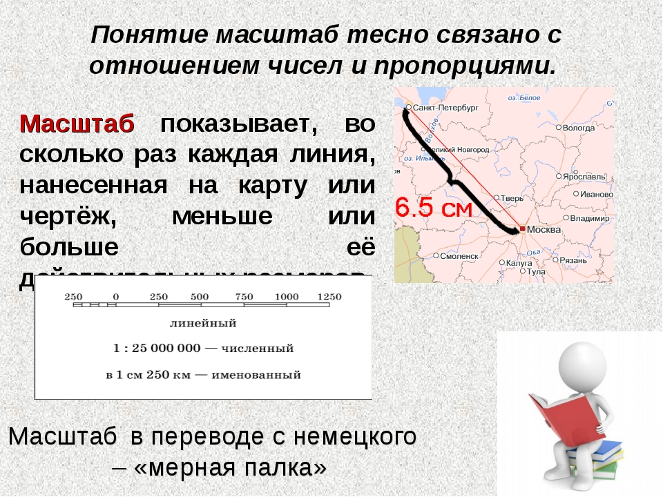 Понятие масштаб тесно связано с отношением чисел и пропорциями. Масштаб показ...