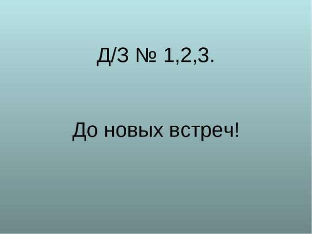 Д/З № 1,2,3. До новых встреч!
