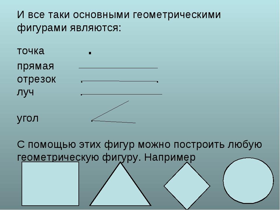 И все таки основными геометрическими фигурами являются: точка . прямая отрез...